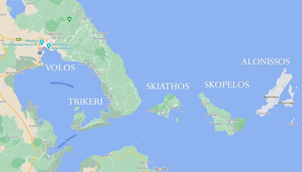 Map of the sporades islands in Greece