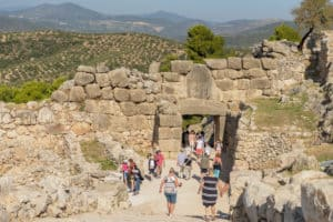 peloponnese guide. pathway from the lion gate of the city leadig up towards the palance of Agamemnon showing the mycenean architecture