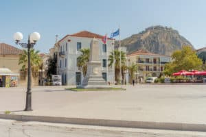 Nafplion is a town locates on the sea and is the capital of the Argolis region of the Peloponnese. It has a nice Venetian old town and was first capital of Greece