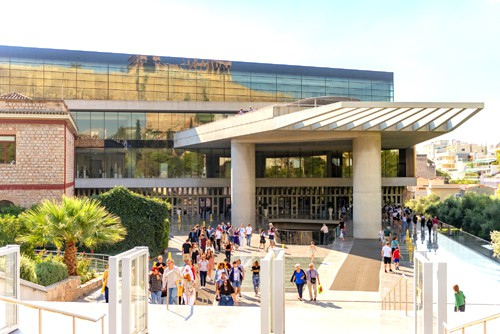 The entrance to the new acropolis museum in Athens