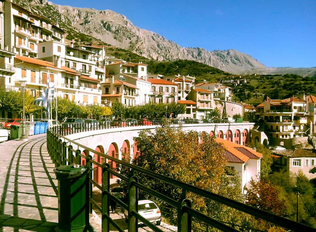 Village of Arachova near delphi is located high on Mout Parassos
