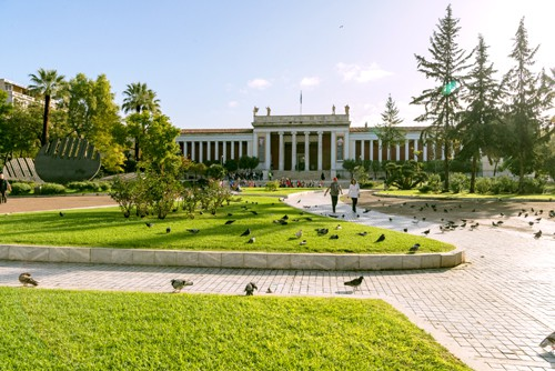the national archaeological museum of Athens main entrance and gardens