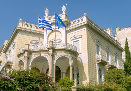 main entrance to the museum of cycladic art in athens showing the architecture of this neoclassic mansion