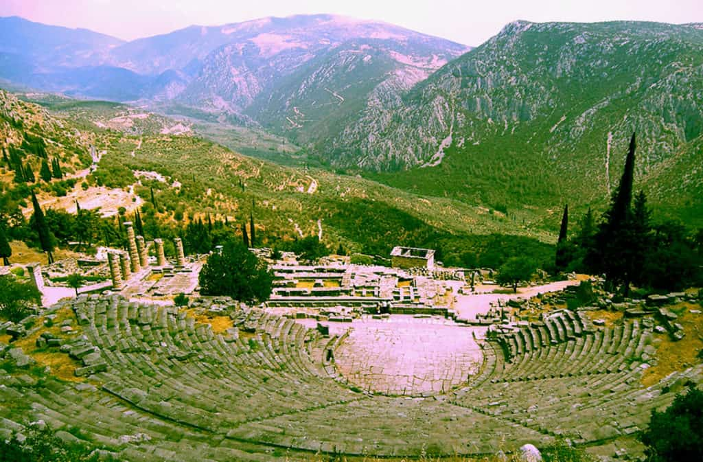 The Ancient Theatre located at the Archaeological site of Delphi above the Temple of Apollo