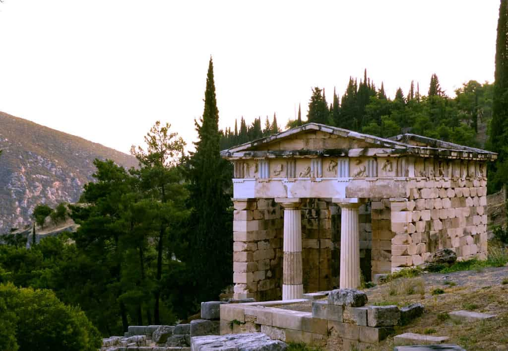 The Treasuries. The Treasury of Athens has been reconstructed at the Archaeological site in Delphi