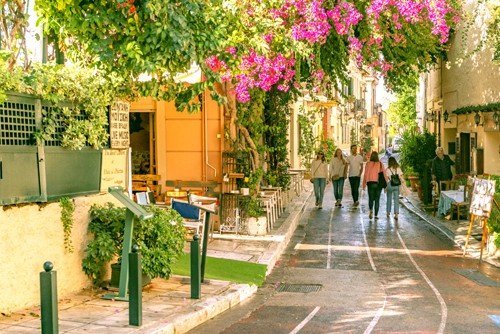 pretty street with flowers in the Plaka area near the Acropolis