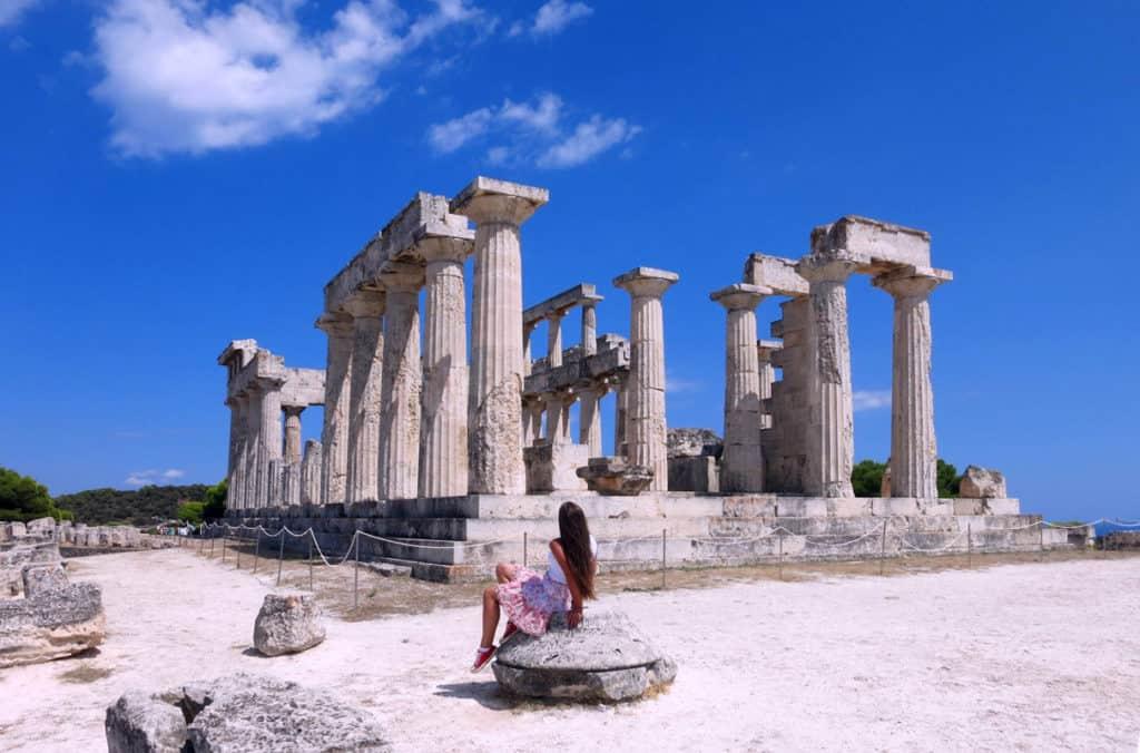 A tourist visits the Temple of Aphaia on Aegina Island