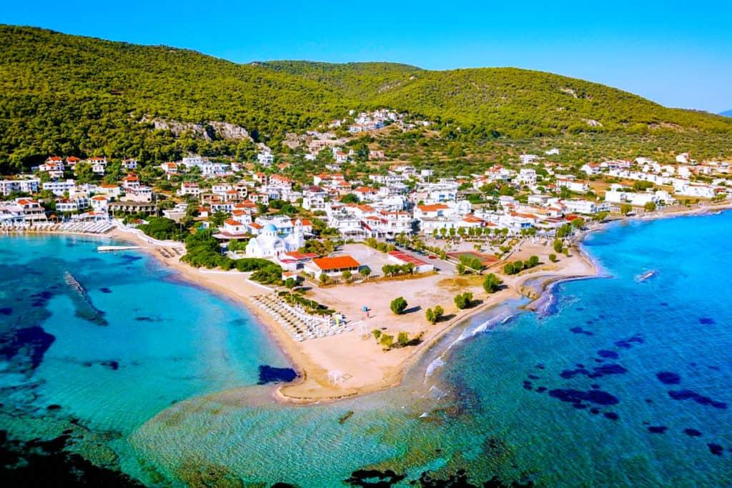 Agistri Island main port and pretty blue water and beaches