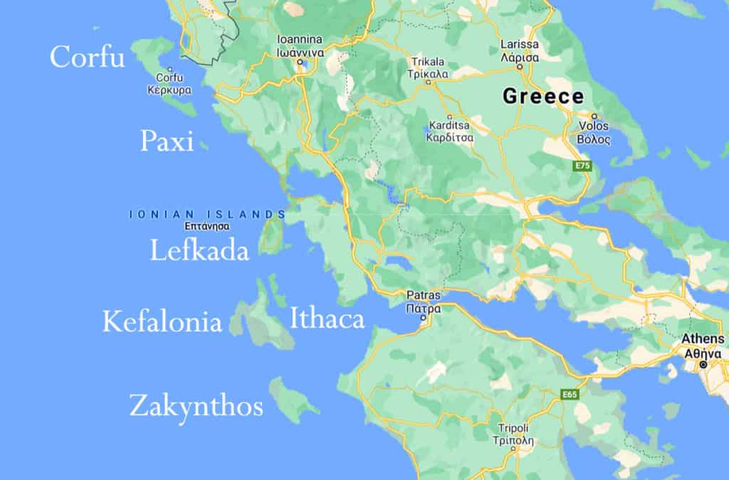 map of the Ionian Islands in Greece for skippered sailing holidays
