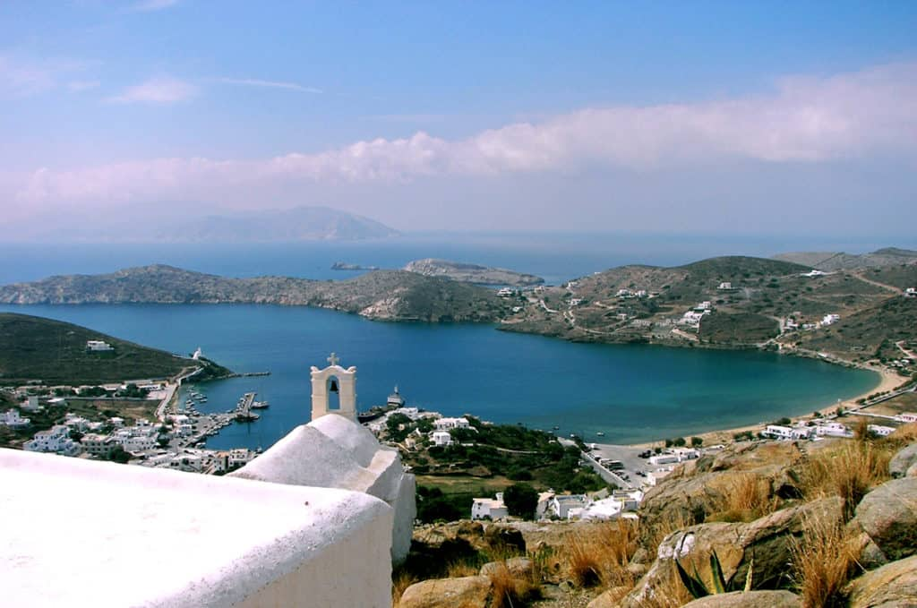 sea view over Ios Island port & villages.