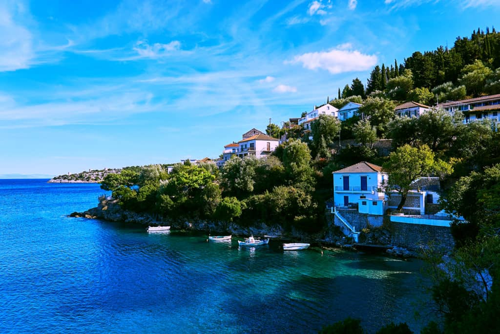Bay along the shore of the island of Kefalonia during crewed sailing holidays