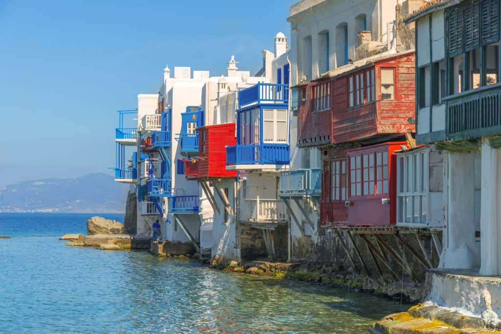 little venice in Mykonos. Cyclades skippered sailing holidays