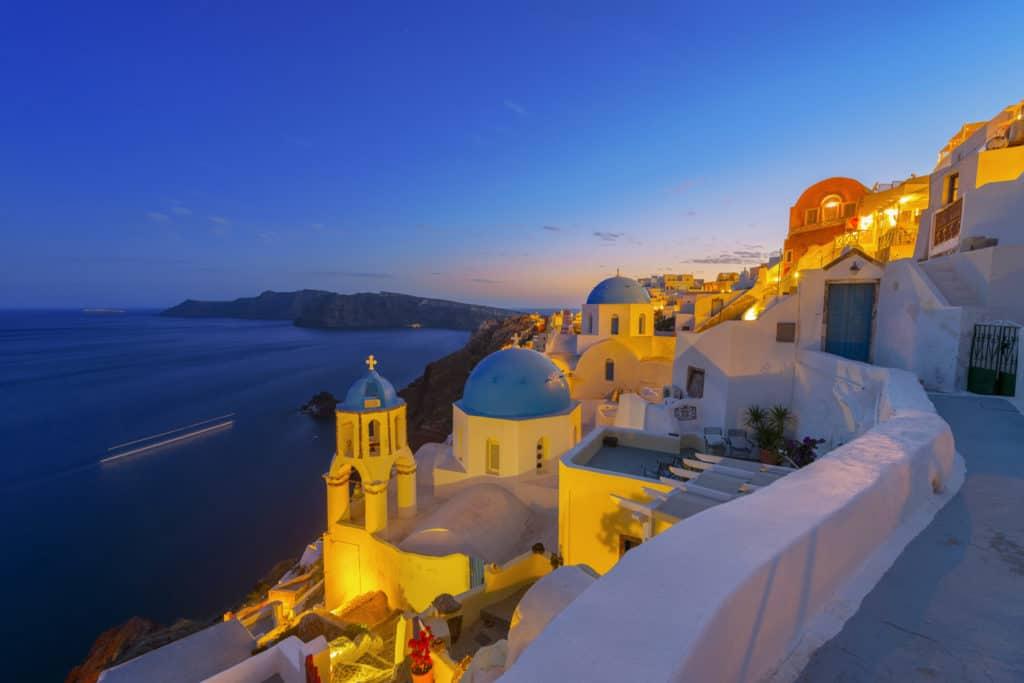 views of santorini. Cyclades skippered sailing holidays