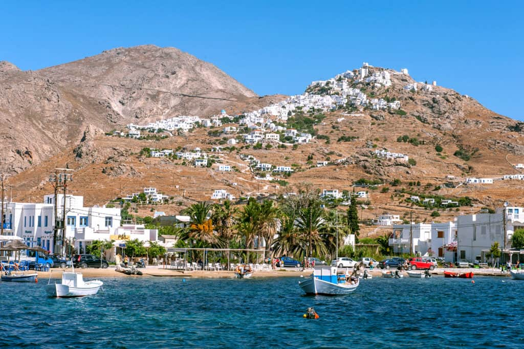 pretty village and port of Serifos with fishing boats island hopping. Cyclades skippered Yacht
