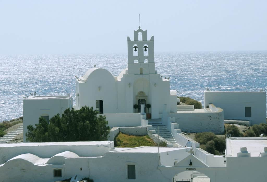 a traditional church in Sifnos by the sea.