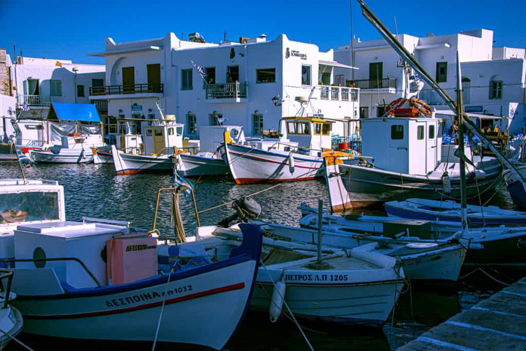 pretty village in Paros Island with fishing boats. Cyclades sailing holidays