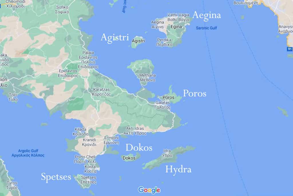 map of the argosaronic islands in greece.