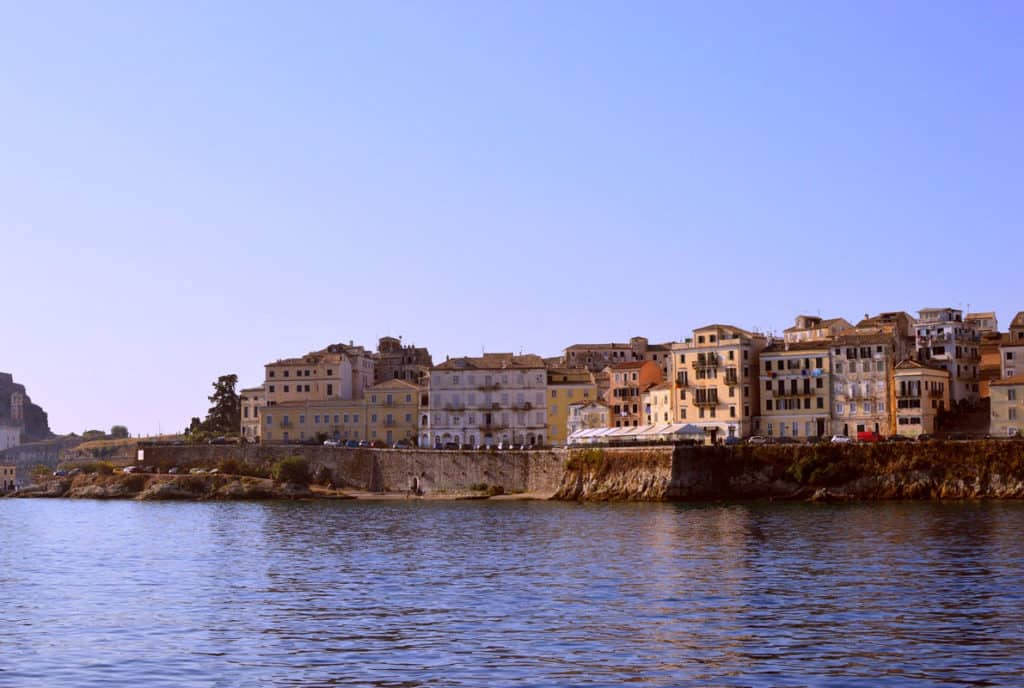 view of corfu from a skippered sailing yacht
