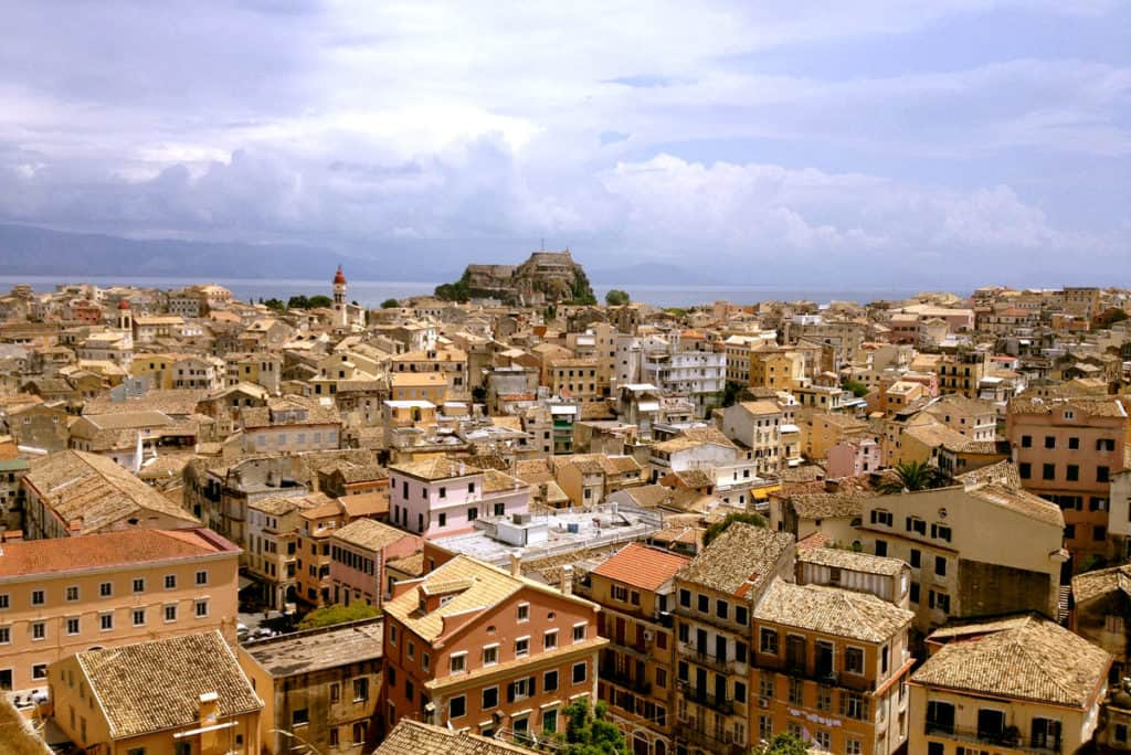panoramic view over the town of corfu during a visit on a sailing holiday