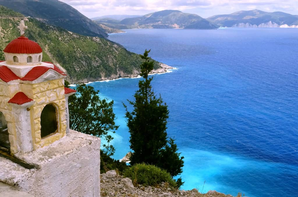sea view from a church tower on an ionian island