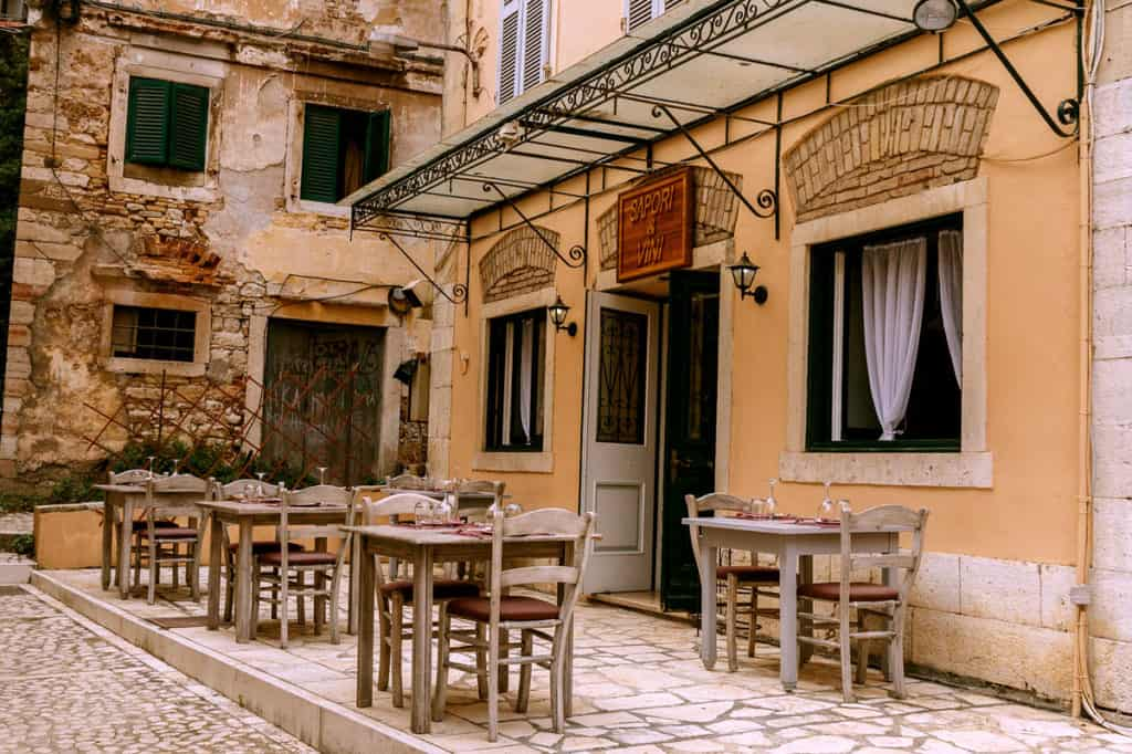 a traditional greek restaurant in the ionian islands opens