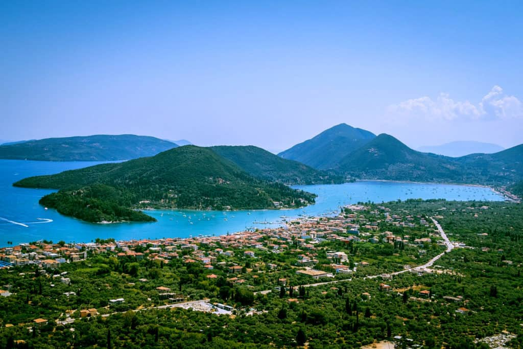panormic view of lefkada island in the ionian sea of Greece