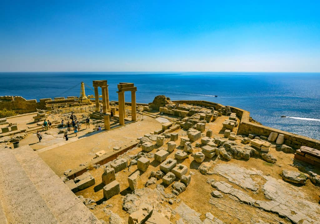 one of the dodecanese islands with an ancient Greek ruin and sea view