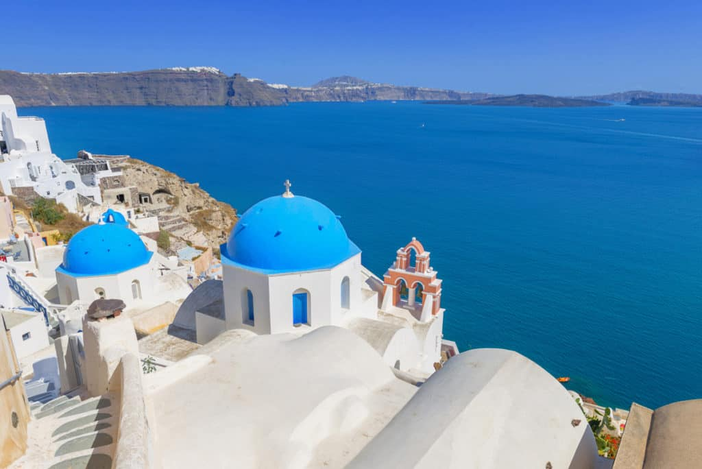 cyclades skippered sailing typical santorini view with church and caldera