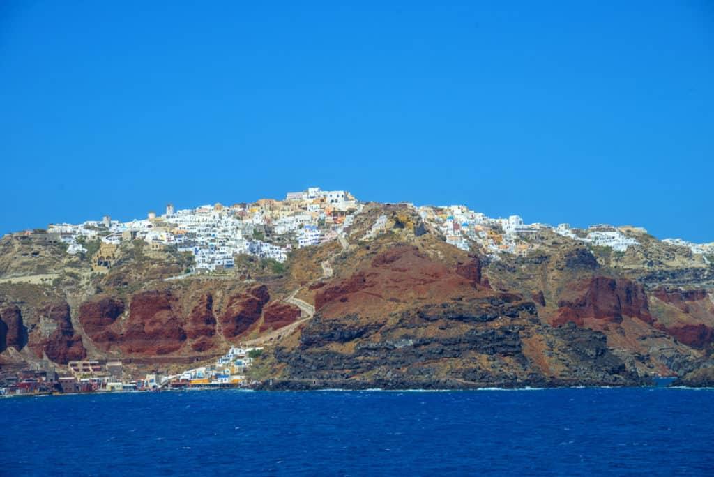 cyclades skippered sailing santorini cliffs