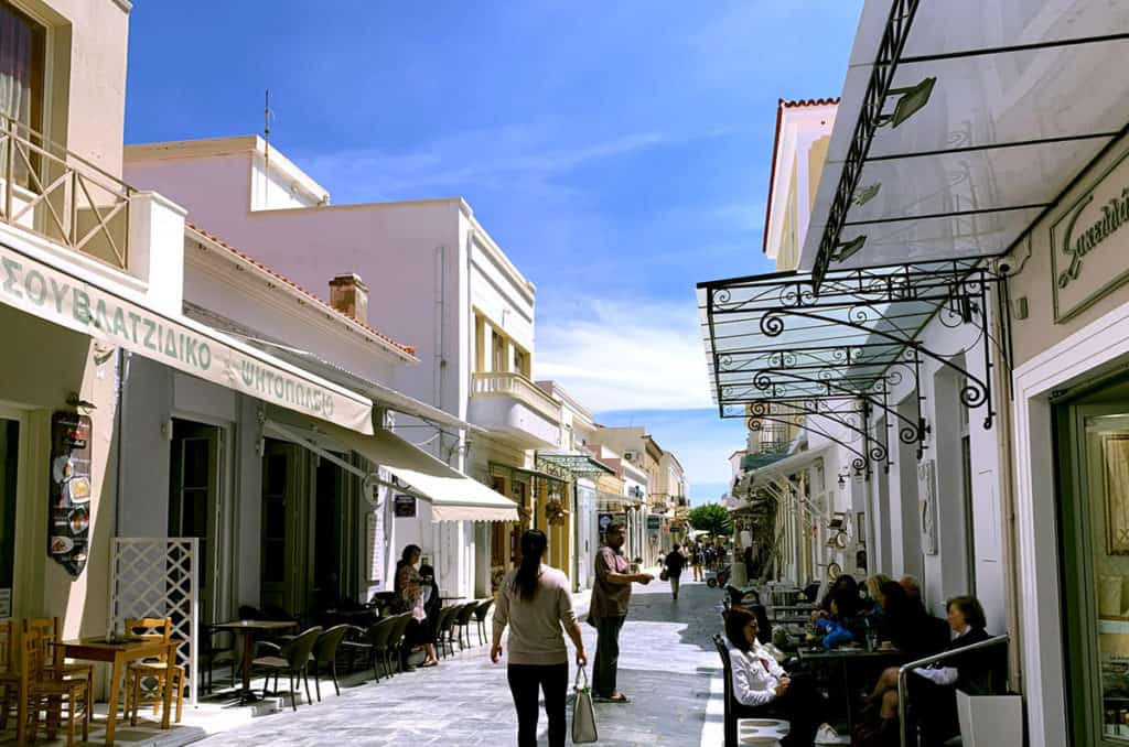 traditional greek small village on a greek island with neoclassic houses
