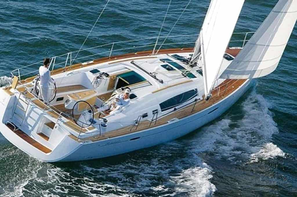 cyclades skippered sailing luxury yacht with its sails unfurled
