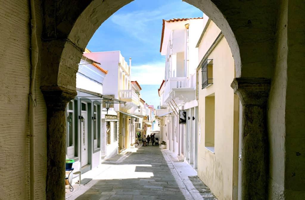 pretty narrow street in greek island