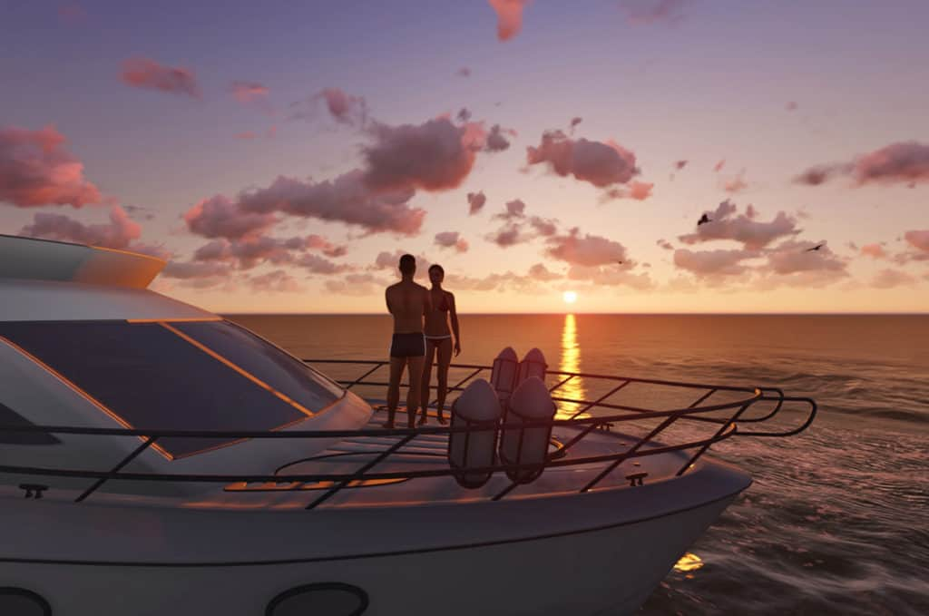 cyclades skippered sailing couple enjoy the sunset in the greek islands