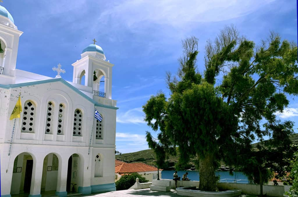 visiting andros island in the cyclades with a small church